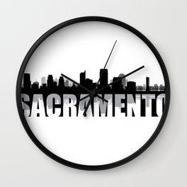Sacramento Silhouette Skyline Wall Clock