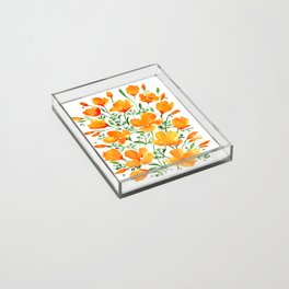 Watercolor California poppies Acrylic Tray