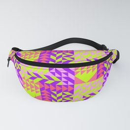 Geometrical abstract pink lilac neon yellow triangles pattern Fanny Pack