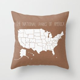 The Hand-Painted National Parks of America Throw Pillow