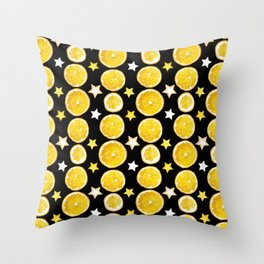 A strange combination of orange and stars Throw Pillow