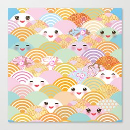 seamless pattern Kawaii with pink cheeks and winking eyes with japanese sakura flower Canvas Print
