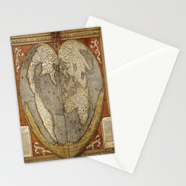 Heart-shaped projection map Stationery Cards