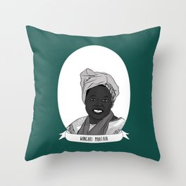 Wangari Maathai Illustrated Portrait Throw Pillow