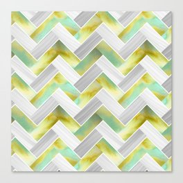 Parquetry in Watercolour - Acid Green Canvas Print