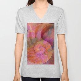 Colorful Nautilus Shell By Sharon Cummings Unisex V-Neck