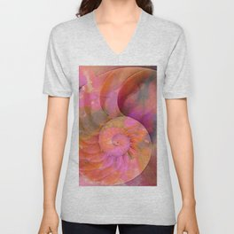 Colorful Nautilus Shell By Sharon Cummings Unisex V-Neck