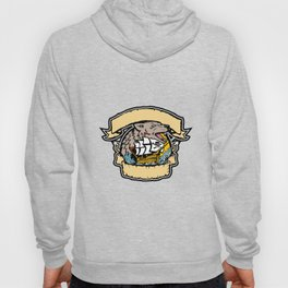 Angry Wolf Pirate Ship Banner Retro Hoody