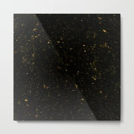 Gold Black Granite Marble Metal Print