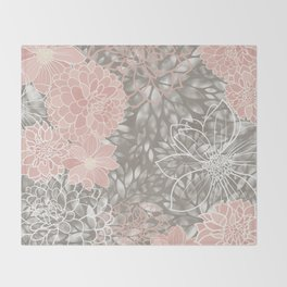 Floral Pattern Dahlias, Blush Pink, Gray, White Throw Blanket