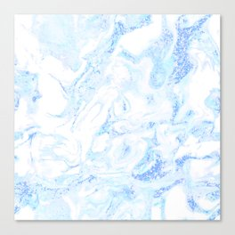 White Marble with Pastel Blue Purple Teal Glitter Canvas Print