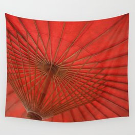 Big Asia Umbrella Red Colors Wall Tapestry