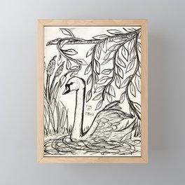 Swan of Serenity Framed Mini Art Print