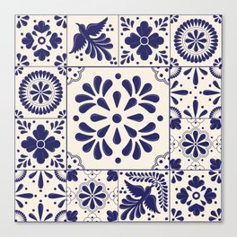 Blue Mexican Talavera Pattern Canvas Print