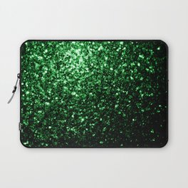 Glamour Dark Green glitter sparkles Laptop Sleeve