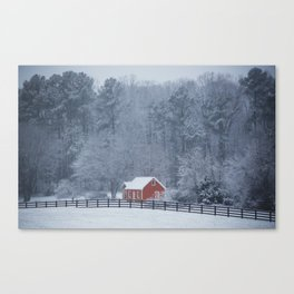 Little Red Barn in the Snow Canvas Print