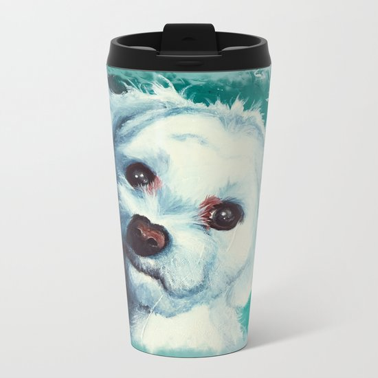 Maltese dog - Pelusa - by LiliFlore Metal Travel Mug