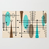 mid century modern Area & Throw Rugs featuring Mid-Century Modern Atomic Inspired by Kippygirl