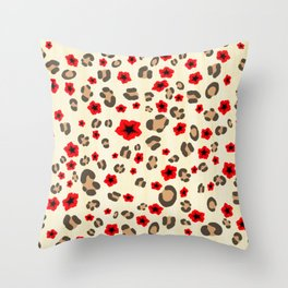Romantic Leopard Print Pattern with Red Flowers Throw Pillow