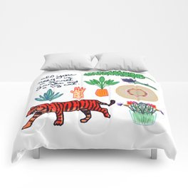 all you need is a secret garden and a big cat Comforters