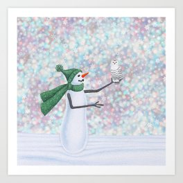 snowman and snowy owl Art Print