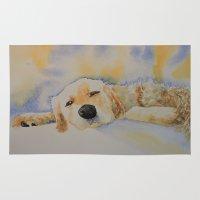 golden retriever Area & Throw Rugs featuring Sleepy Golden Retriever by yankeegirlart