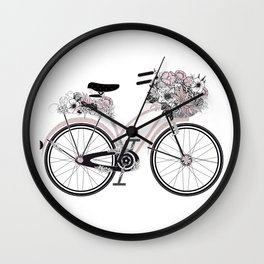 nostalgic bike with lush floral decoration Wall Clock