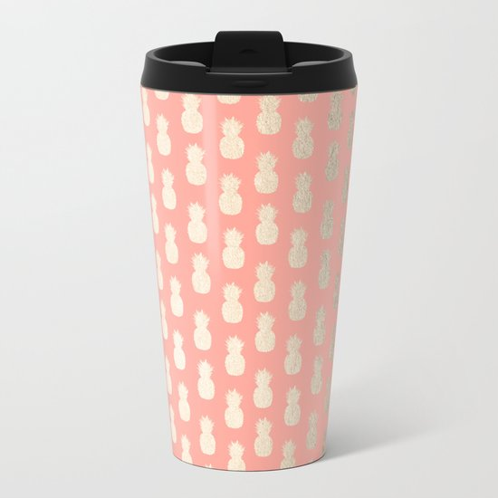 Gold Pineapples on Coral Pink Metal Travel Mug