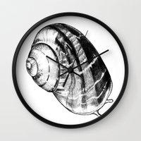 snail Wall Clocks featuring Snail by MARIA BOZINA - PRINT