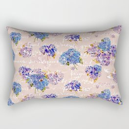 Hydrangeas on Blush with white French script and birds Rectangular Pillow