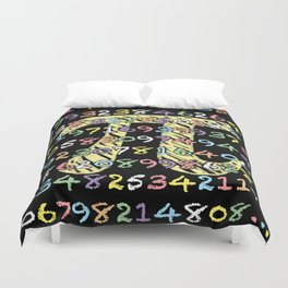 Fun and Colorful Chalkboard-Style Pi Calculated Duvet Cover