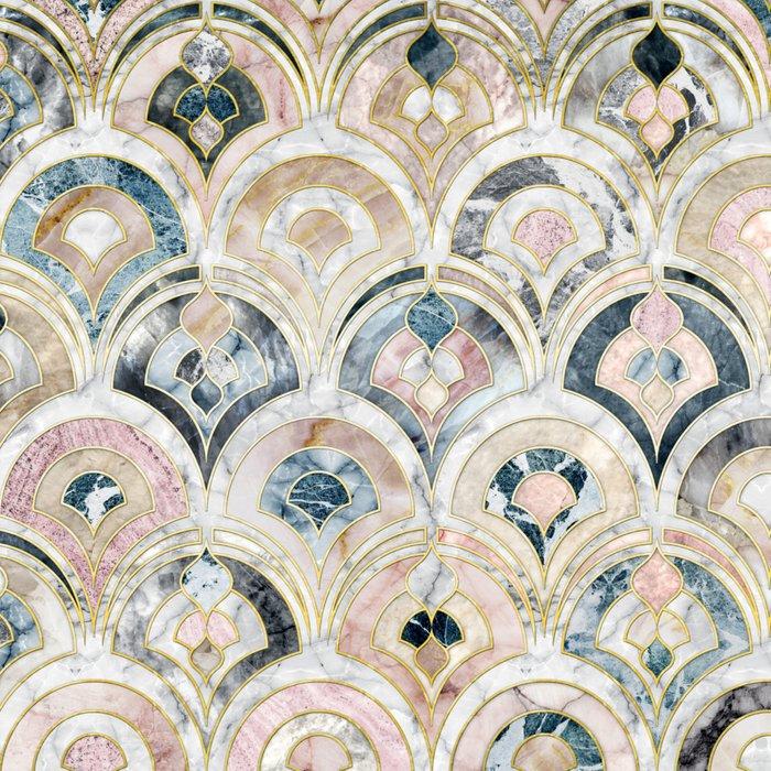 Art Deco Marble Tiles in Soft Pastels Leggings
