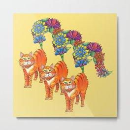 Three Blooming Kitties Metal Print