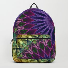 Colorful mandala with blue and pink petals ornament Backpack