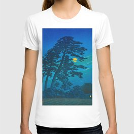 Vintage Japanese Woodblock Print Kawase Hasui Haunting Tree Silhouette At Night Moonlight T-shirt