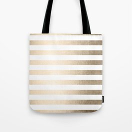 Simply Striped in White Gold Sands Tote Bag