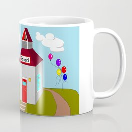 An Ole School House with Balloons Coffee Mug