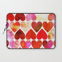 Mod Red Grungy Hearts Design Laptop Sleeve