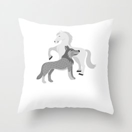 Horse And Wolf Horse Lover Equestrian Rider Throw Pillow