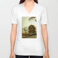 tim burton V-neck T-shirts featuring Brie Boy - Tim Burton by PaperTigress
