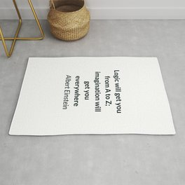 Albert Einstein Quote - Logic and Imagination Rug