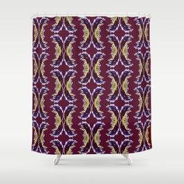 Yellow Burgundy Ornament Baroque Damask Pattern Shower Curtain