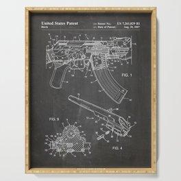 Ak-47 Rifle Patent - Ak-47 Firing Mechanism Art - Black Chalkboard Serving Tray