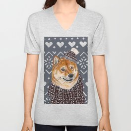 Shiba Inu in a  Hat and Scarf Unisex V-Neck