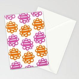 Fun Flowers pink orange Stationery Cards