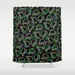 Gamer Colors on Black Shower Curtain