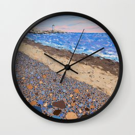 Seaside Popples with Lighthouse Wall Clock