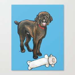 Milo the Poodle with his Monkey Canvas Print