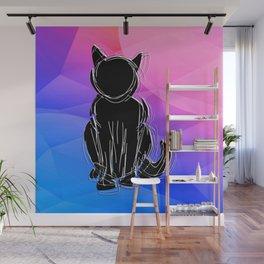 Black Cat - geometric background Wall Mural