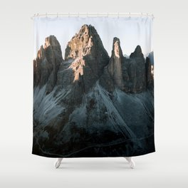 Tre Cime in the Dolomites Mountains at dusk - Landscape Photography Shower Curtain